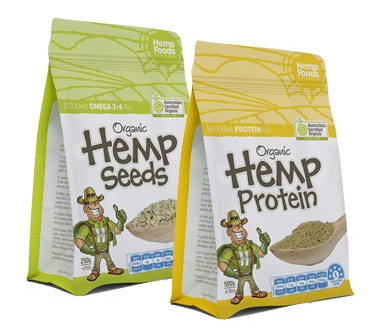 Elixinol hemp protein and hemp seeds in bags